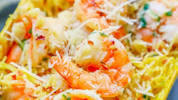Low Carb Spaghetti Squash Shrimp Scampi
