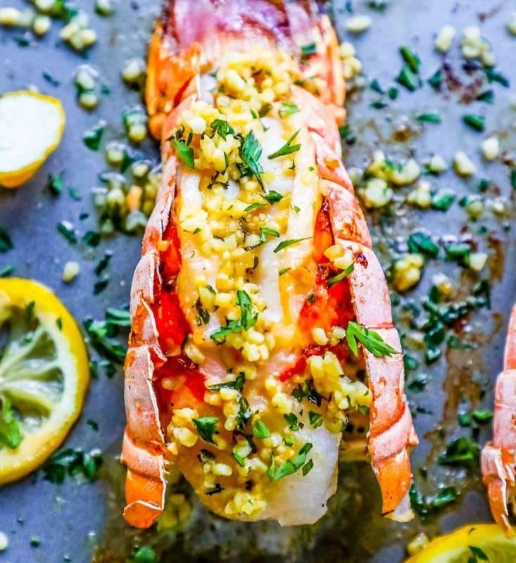 10 Minute Lemon Garlic Butter Broiled Lobster Tails