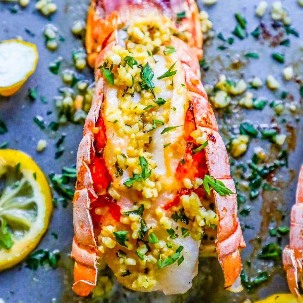 10 Minute Lemon Garlic Butter Broiled Lobster Tails