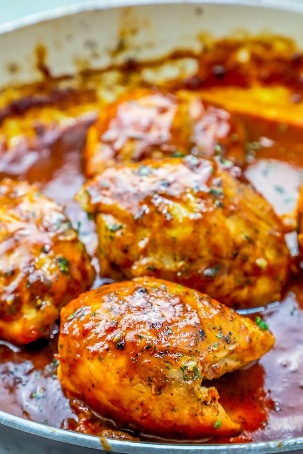 Easy One Pan Bbq Chicken Thighs Skillet Dinner Recipe