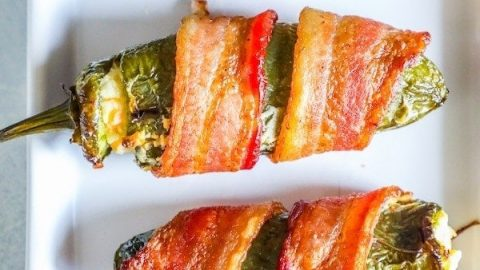 Bacon Wrapped Cheddar and Garlic Jalapeno Poppers