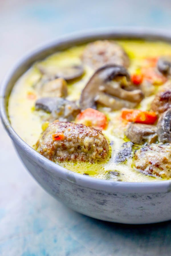 One Pot Creamy Meatball Soup