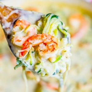 One Pot Creamy Shrimp Alfredo with Zucchini Noodles Recipe