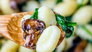Mushroom Gnocchi in a Spinach Mushroom Cream Sauce
