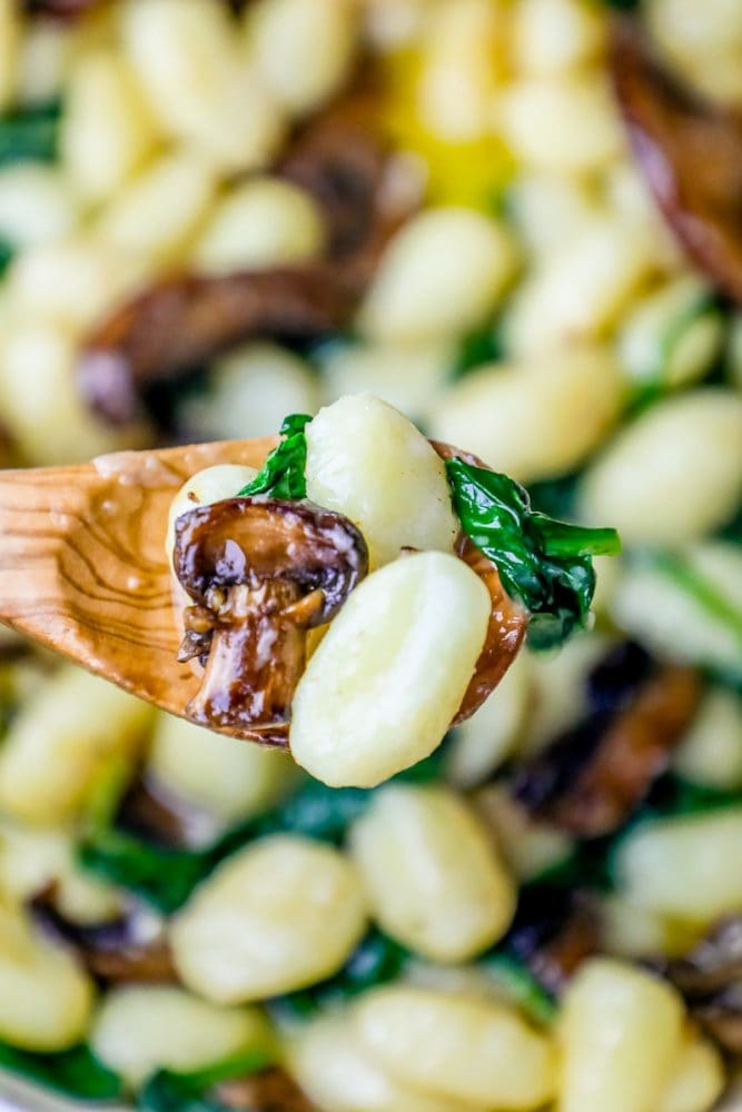 Easy One Pot Gnocchi In A Spinach Mushroom Cream Sauce Recipe