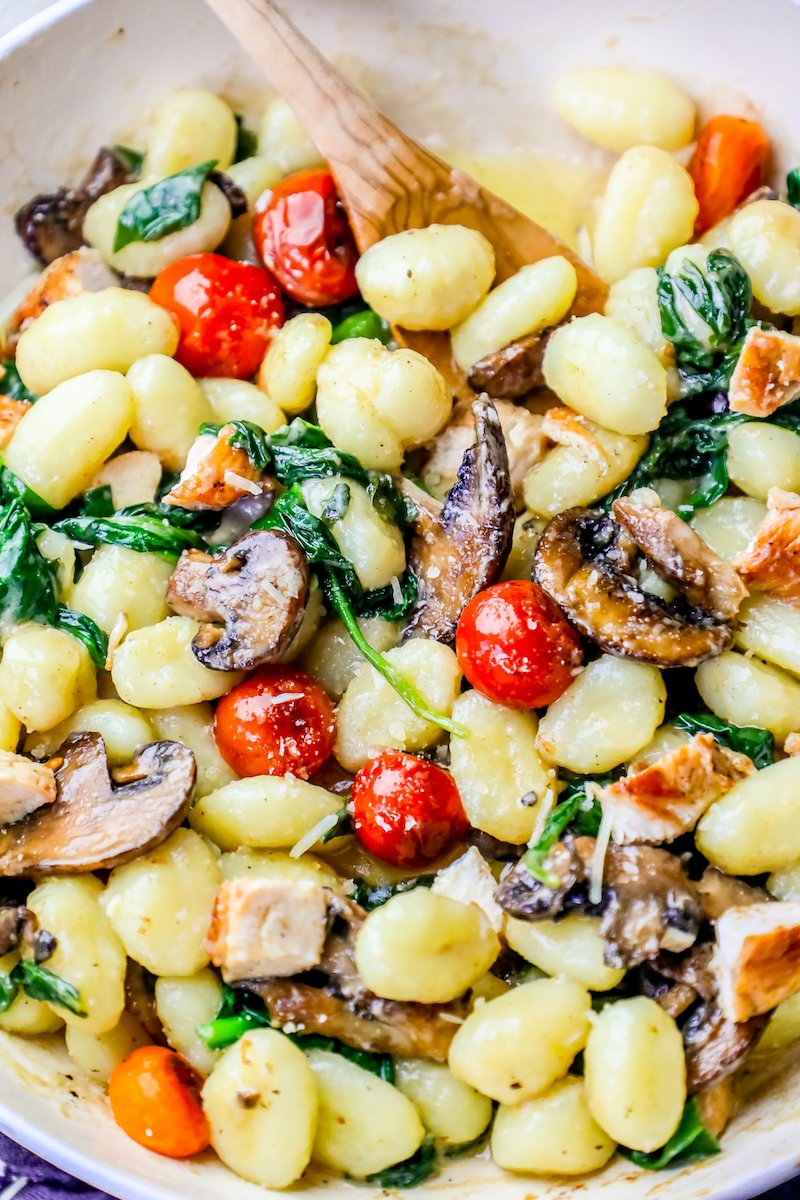 closeup picture of gnocchi in pan