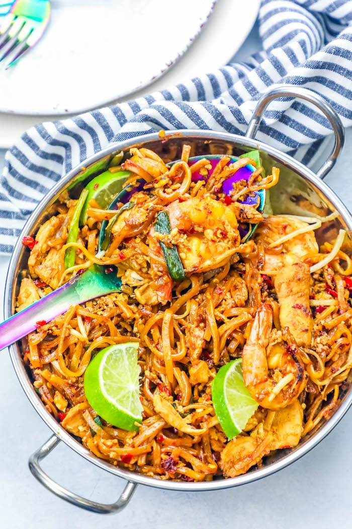 The best easy chicken and shrimp pad thai noodles recipe pad thai is one of my favorite takeout dishes of all time i think i survived off it out of every couple meals in my 20s i always ordered chicken forumfinder Choice Image