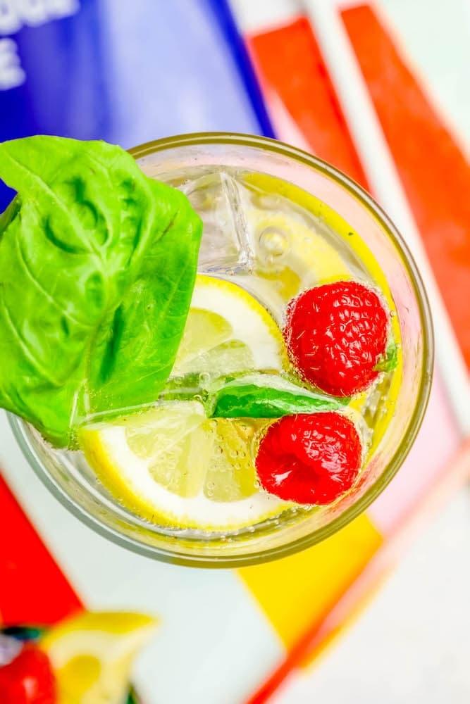 Sparkling Raspberry Lemon Basil Gin Cocktail Recipe