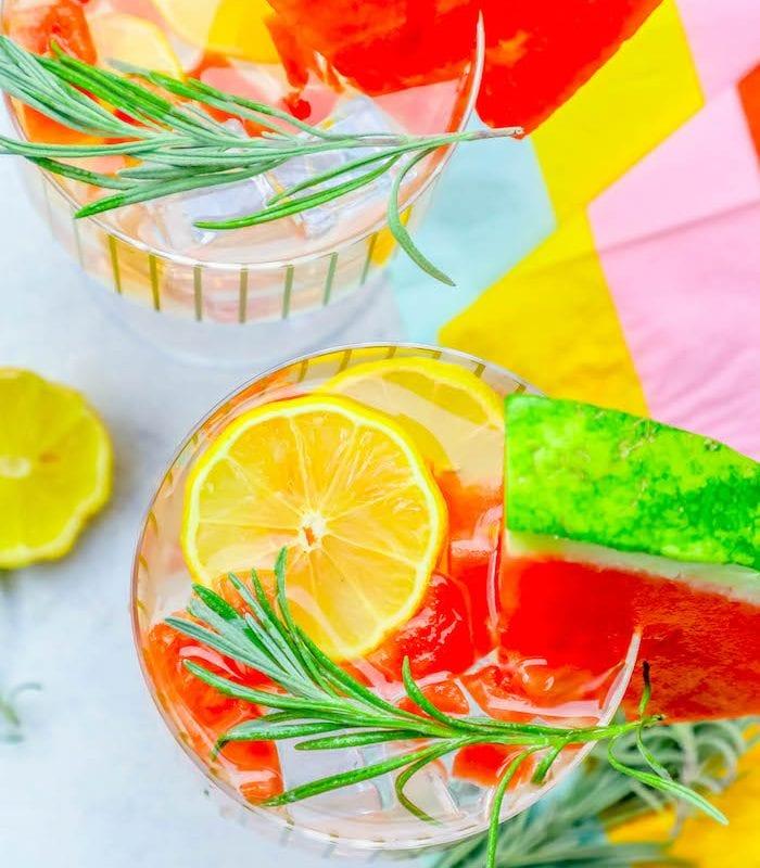 Rosemary Watermelon Lemonade Vodka Cocktail and Mocktail Recipe