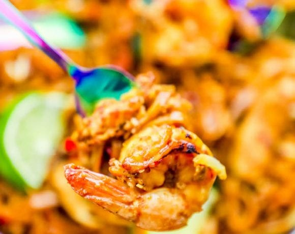 Easy Chicken and Shrimp Pad Thai Noodles Recipe