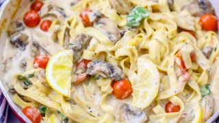 One Pot Creamy Tuscan Mushroom Linguine Recipe