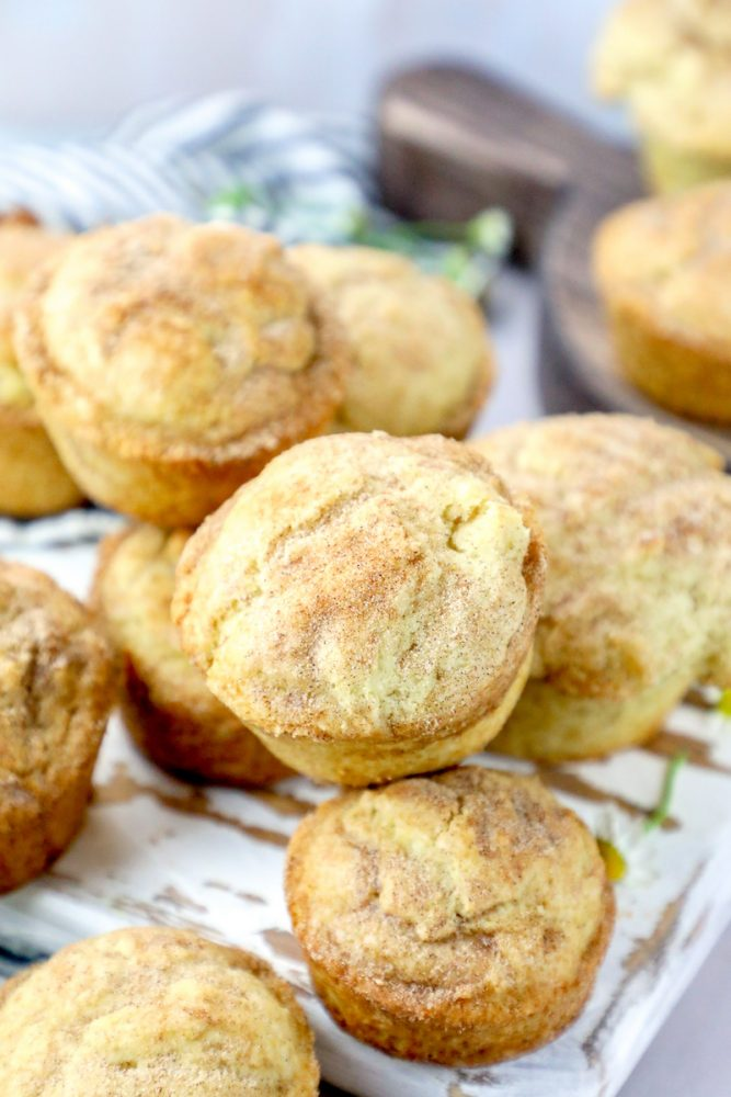 Picture of snickerdoodle muffins piled on a cutting board