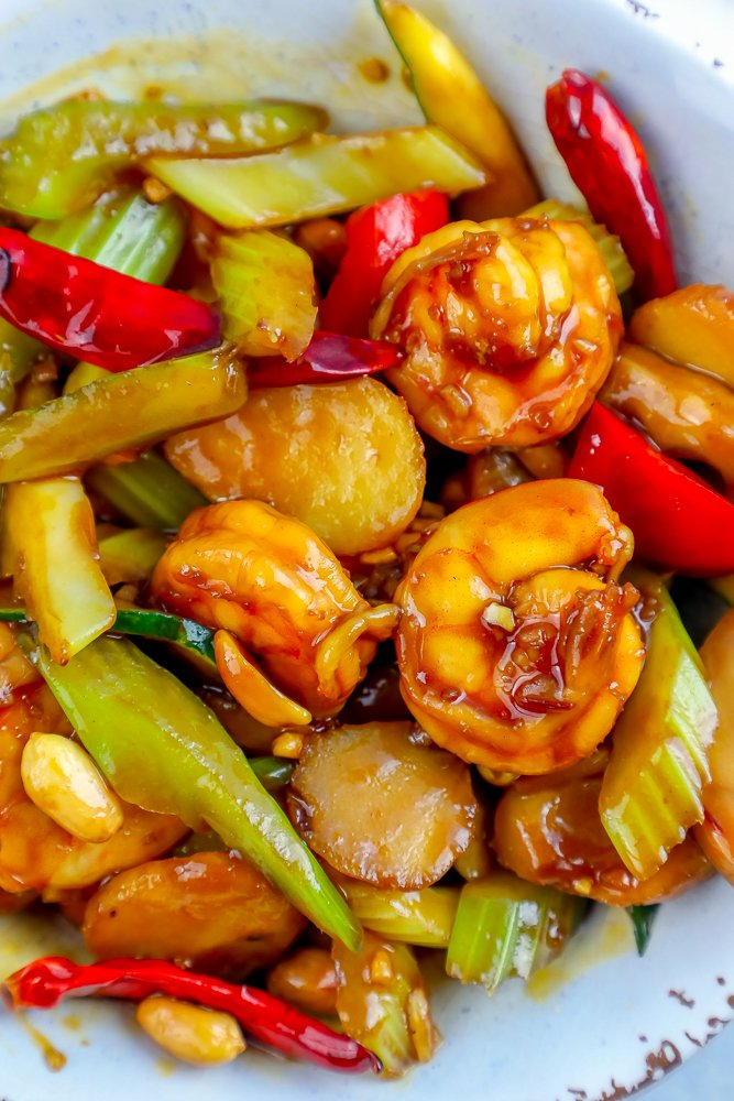 kung pao shrimp in a white bowl picture