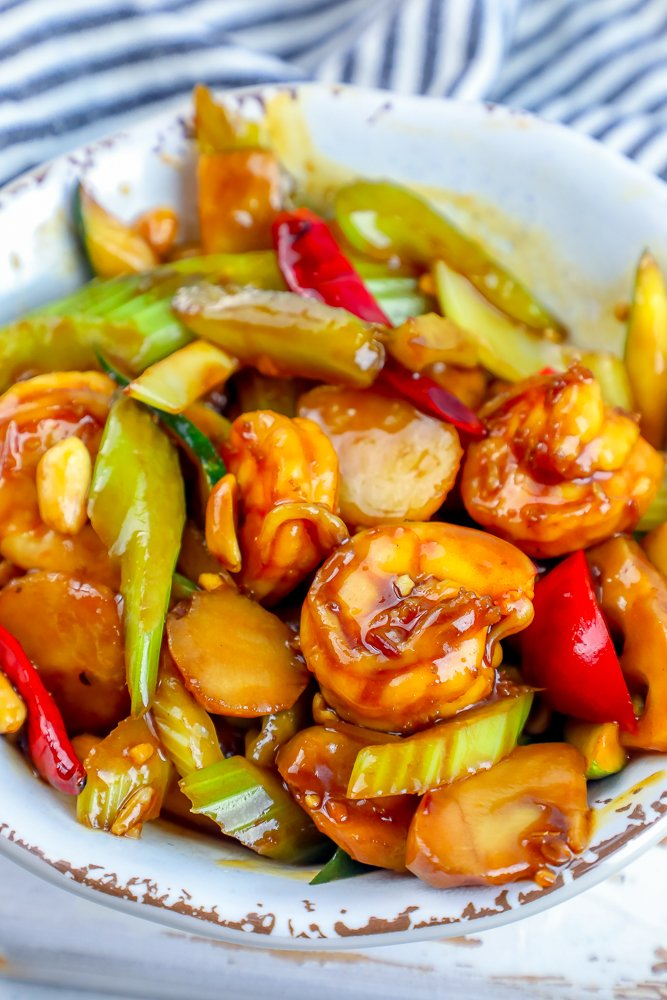 shrimp and vegetables in kung pao sauce