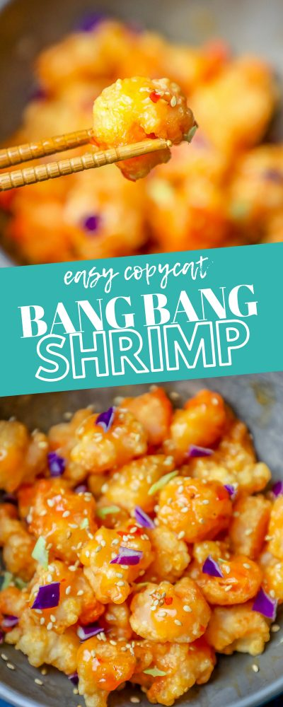 picture of bang bang fried shrimp with sesame seeds in a bowl