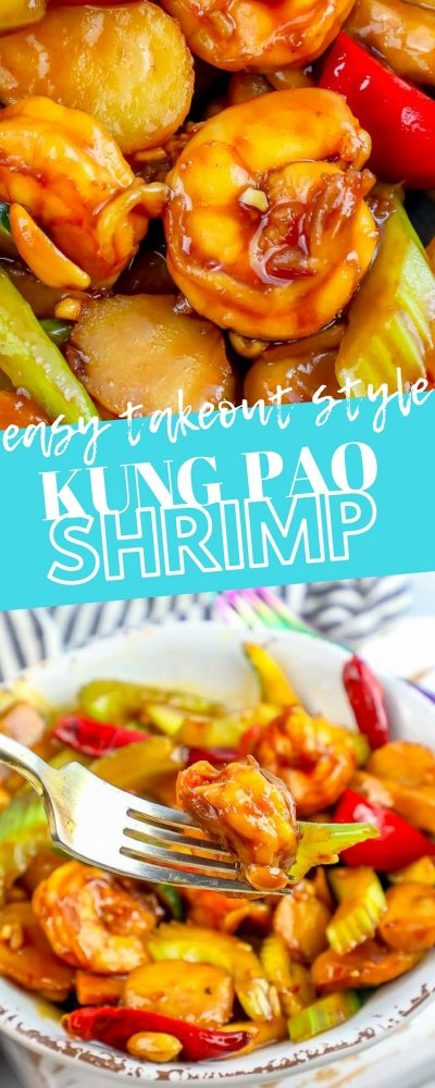 pictures of kung pao shrimp and vegetables with the label easy takeout style kung pao shrimp