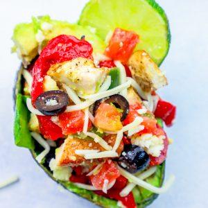 Cheesy Chicken Taco Salad Stuffed Avocado Recipe