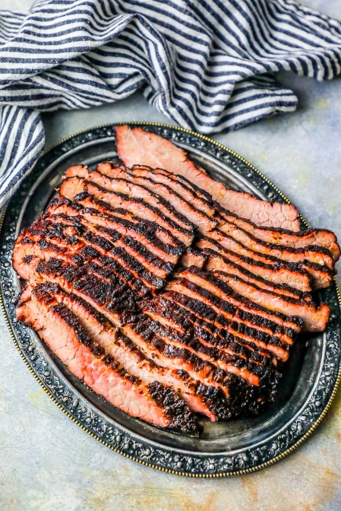 smoked brisket sliced on a plate