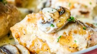 One Pot Creamy Garlic Chicken Thighs and Mushrooms Recipe