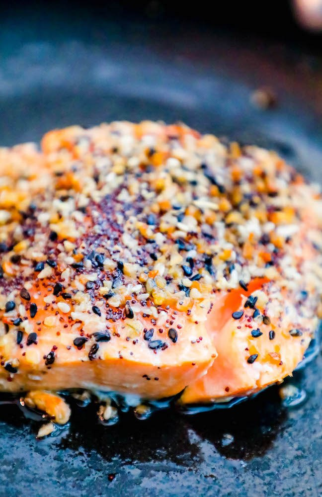 salmon with everything bagel seasoning on top in pan