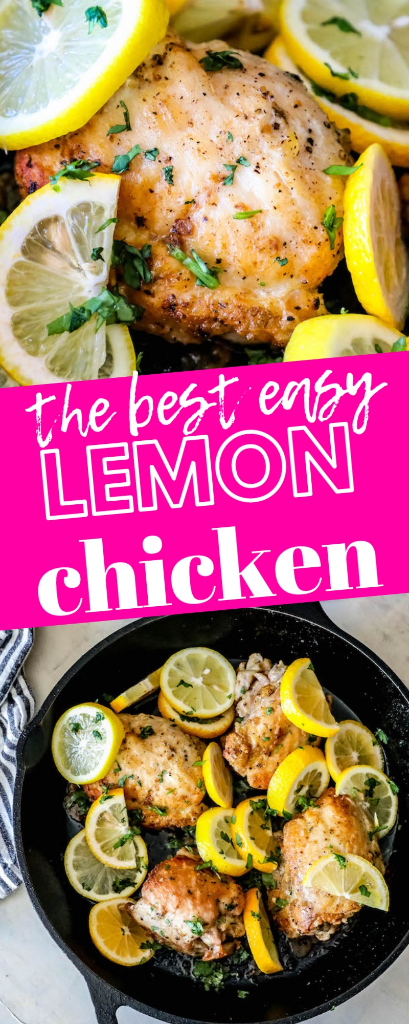 skillets with baked chicken thighs and sliced lemons