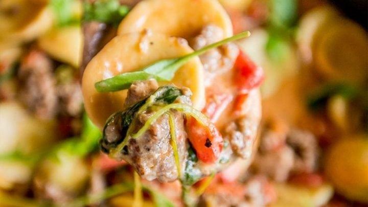 Sausage Skillet Ravioli in Tomato Spinach Cream Sauce Recipe