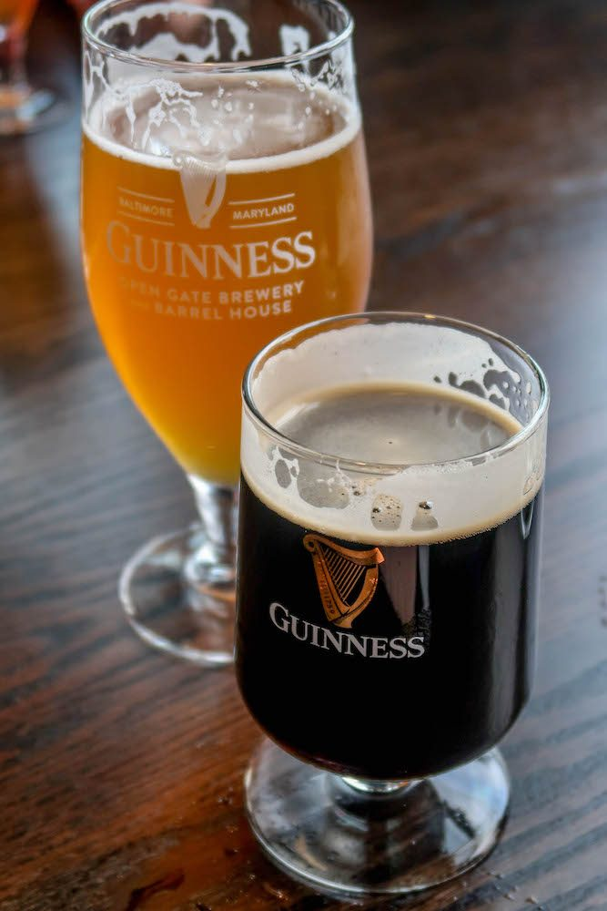 picture of guinness stout and guinness blonde at brewery in maryland