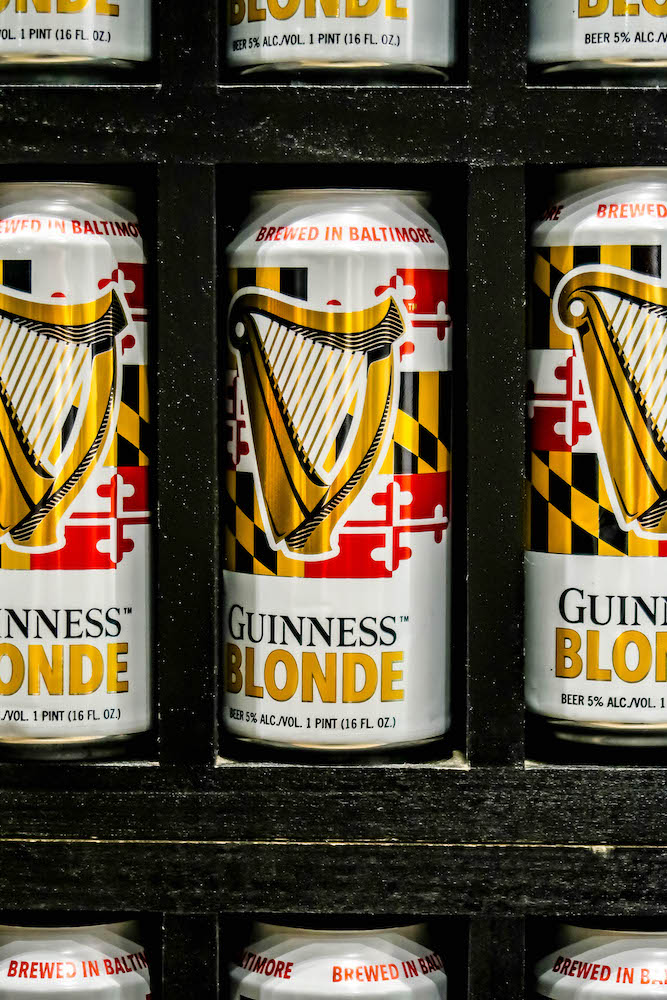 picture of guinness blonde cans stacked