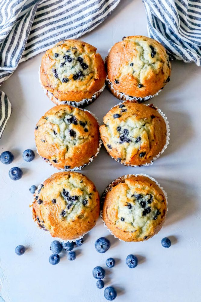Picture of blueberry muffins on a table