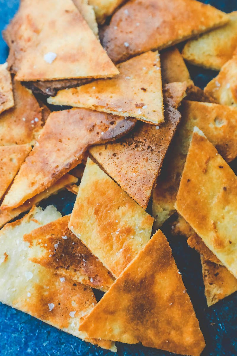 Picture of keto tortilla chips on a plate