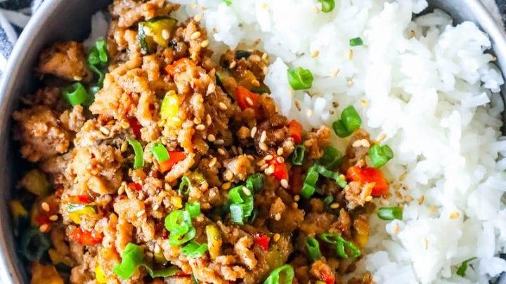 Easy Mongolian Turkey and Rice Bowls Recipe
