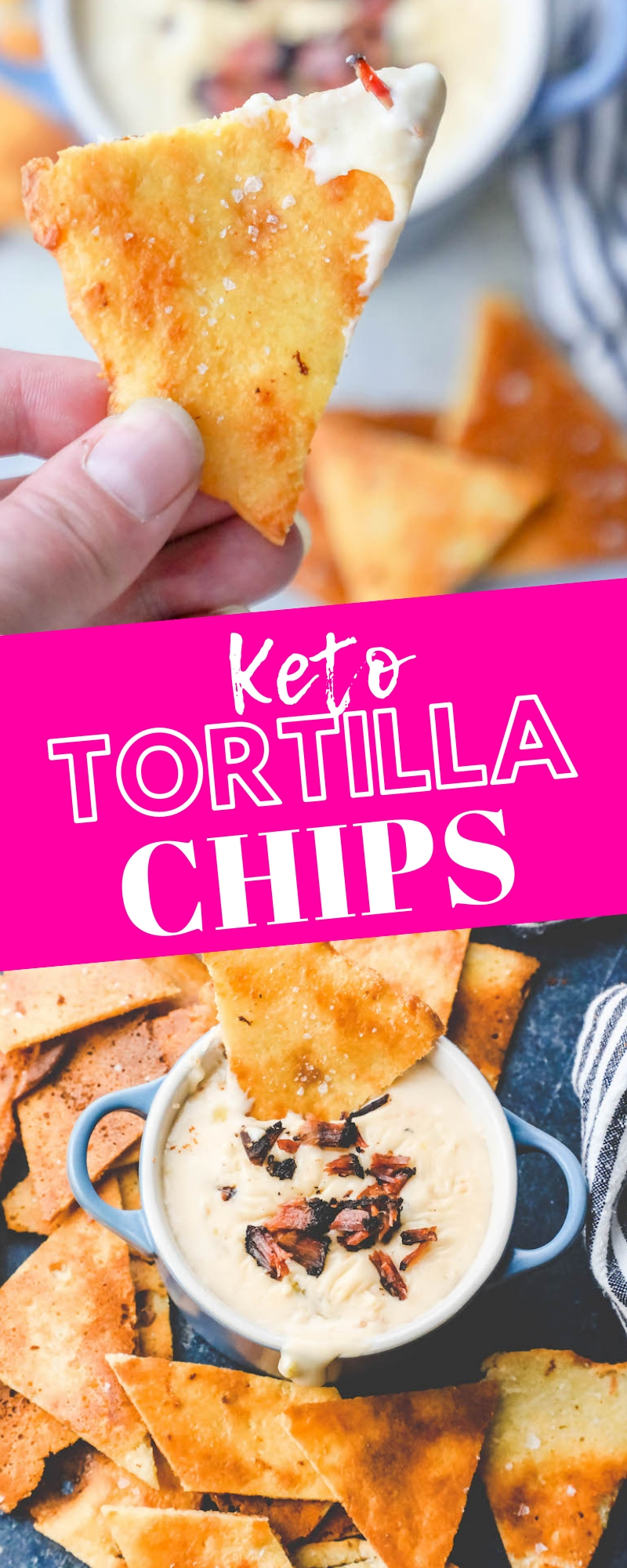Picture of keto tortilla chips on a plate with dip