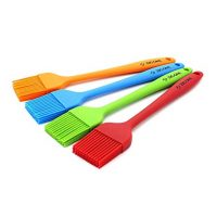 Zicome Set of 4 Silicone Pastry Basting Grill Barbecue Brush - Solid Core and Hygienic Solid Coating - 4 Bright Colored Red, Blue, Orange, Green - 8-3/4 Inch Long