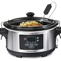 Hamilton Beach 33969A 6-Quart Programmable Set & Forget w/Temperature Probe Slow Cooker, Stainless Steel