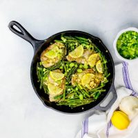 One Pot Lemon Garlic Pork Chops and Asparagus Skillet