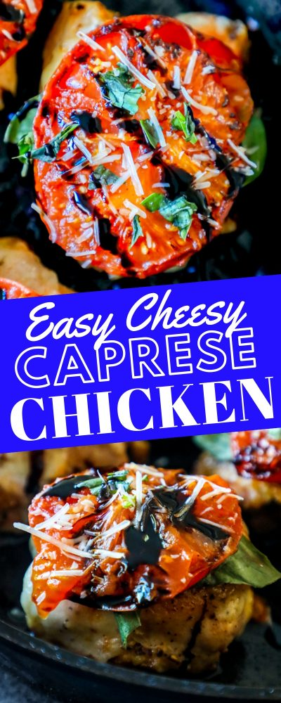 two pictures of caprese chicken thigh recipe in pan