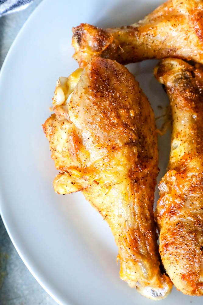 Chicken drumsticks on a plate