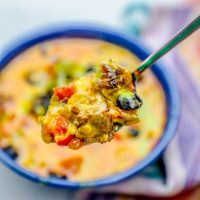 Easy Instant Pot Cheesy Steak Taco Soup Recipe