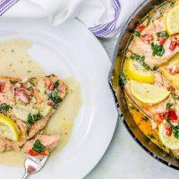 One Pot Creamy Lemon Salmon Florentine