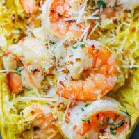 Low Carb Spaghetti Squash Shrimp Scampi