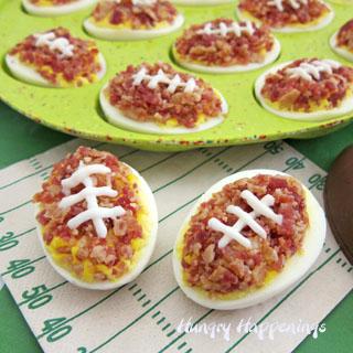 Deviled Egg Footballs | Bacon Topped Deviled Eggs Decorated Like Footballs