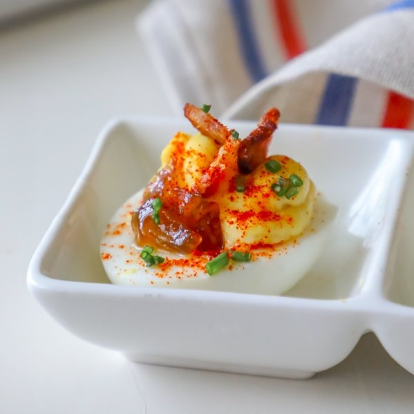 Bacon and Onion Jam Deviled Eggs Recipe