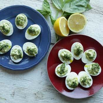 Pesto Deviled Eggs Without Mayo
