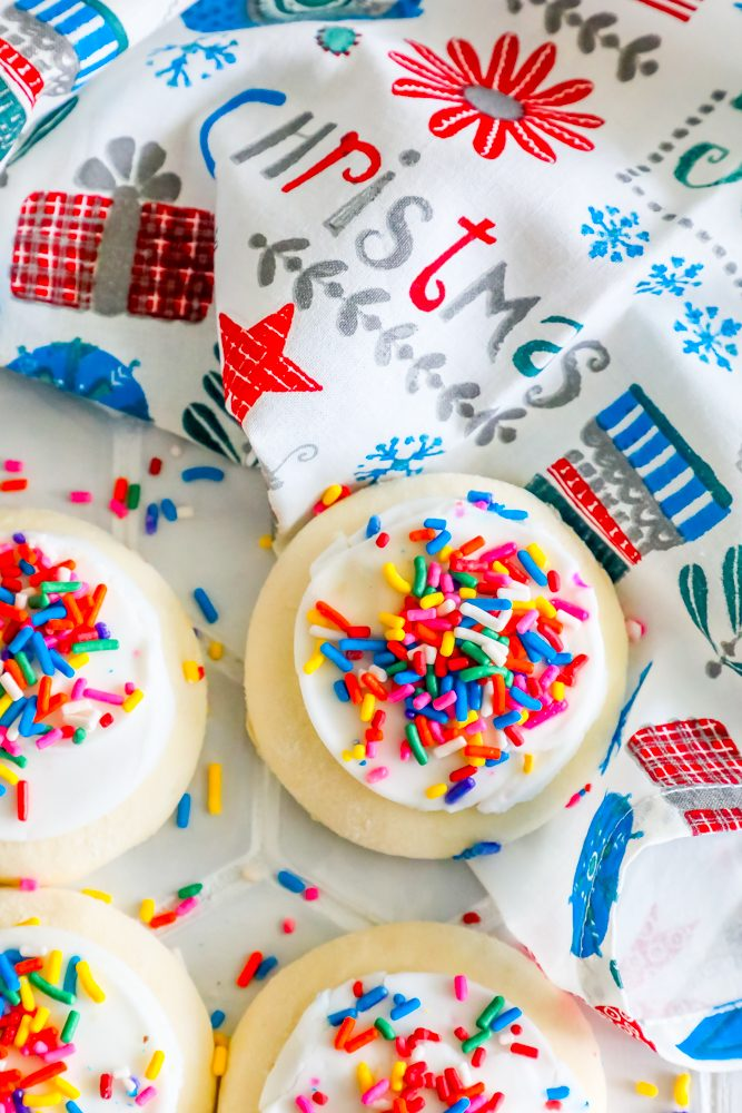 picture of sugar cookies on christmas towel