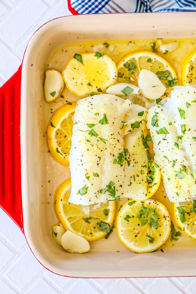 Easy Lemon Garlic Baked Cod Recipe Sweet Cs Designs