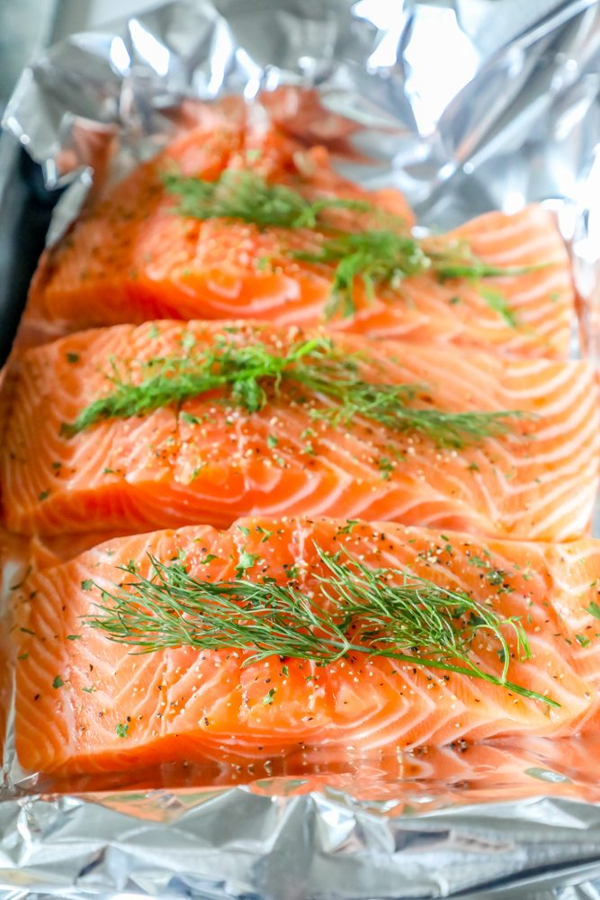 picture of raw salmon filets on a piece of foil