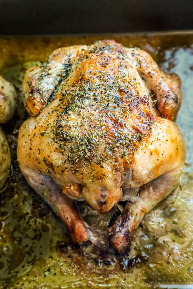 picture of a cornish game hen on a baking sheet with herbs