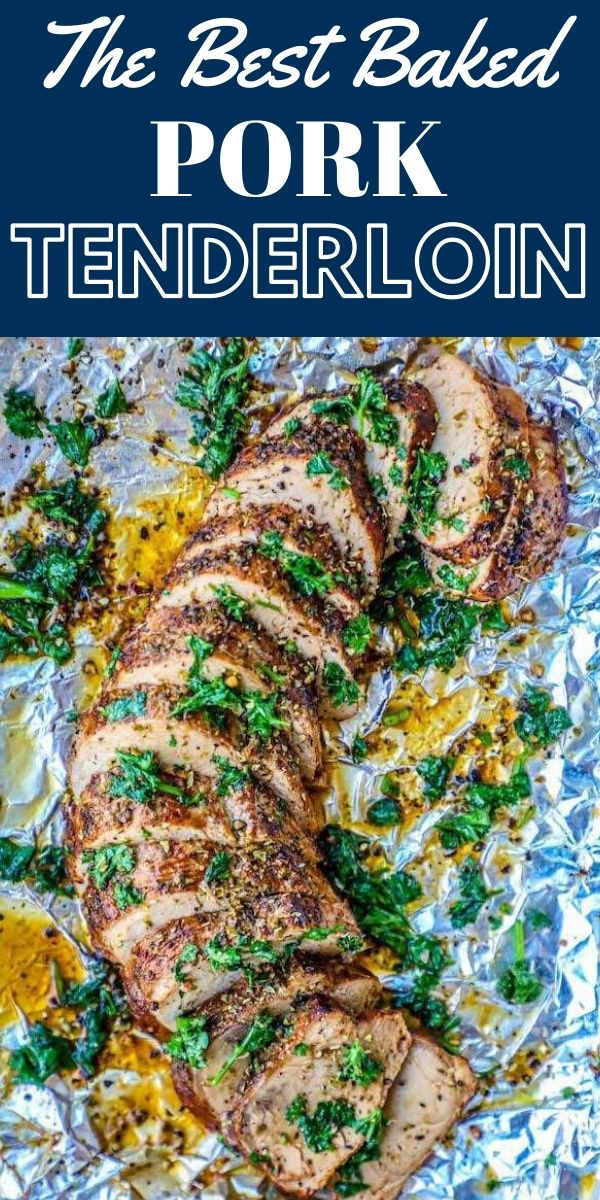 baked pork tenderloin sliced on a baking sheet in garlic butter sauce topped with garlic and cilantro