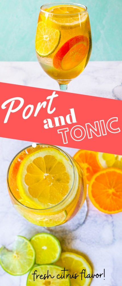 Picture of port and tonic in a glass with ice and slices of lemon, limes, and oranges.