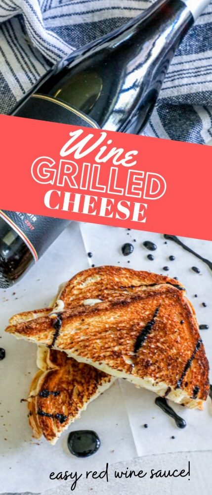 Picture of wine bottle and grilled cheese with red wine sauce